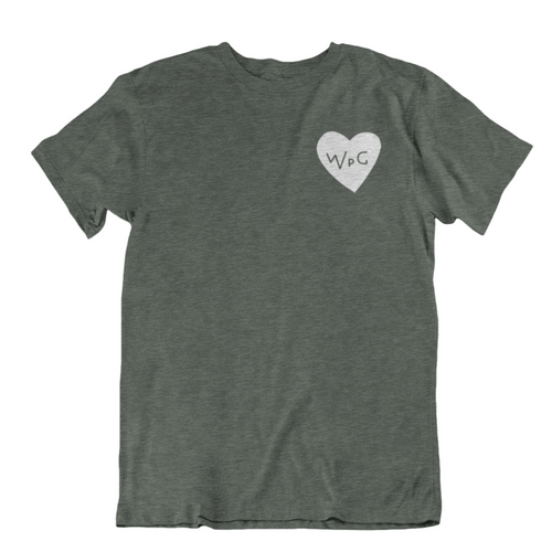 WPG Heart Tee | White on Heather Forest