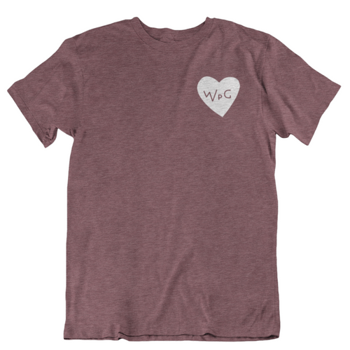 WPG Heart Tee | White on Heather Maroon
