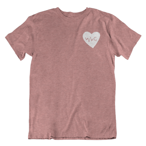 WPG Heart Tee | White on Heather Mauve