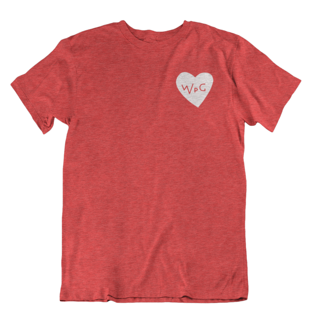 WPG Heart Tee | White on Heather Red