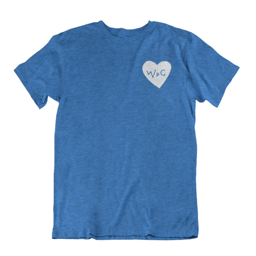 WPG Heart Tee | White on Heather Royal