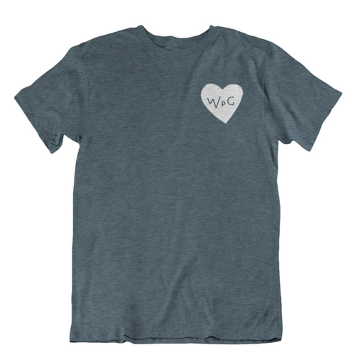 WPG Heart Tee | White on Heather Slate