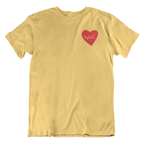 WPG Heart Tee | Red on Heather Yellow Gold