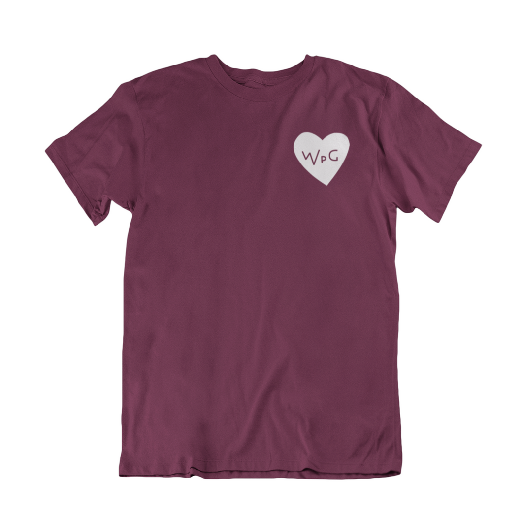 WPG Heart Tee | White on Maroon