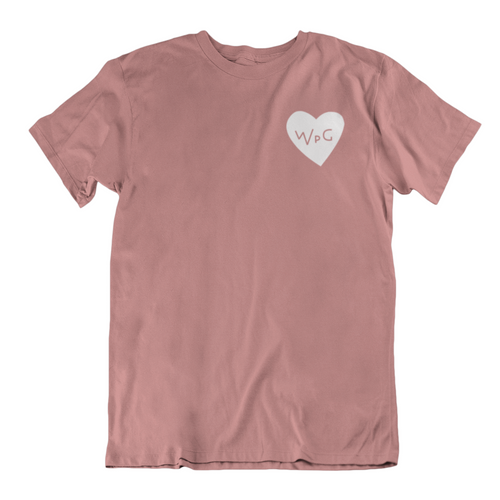 WPG Heart Tee | White on Mauve