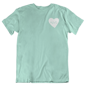 WPG Heart Tee | White on Mint