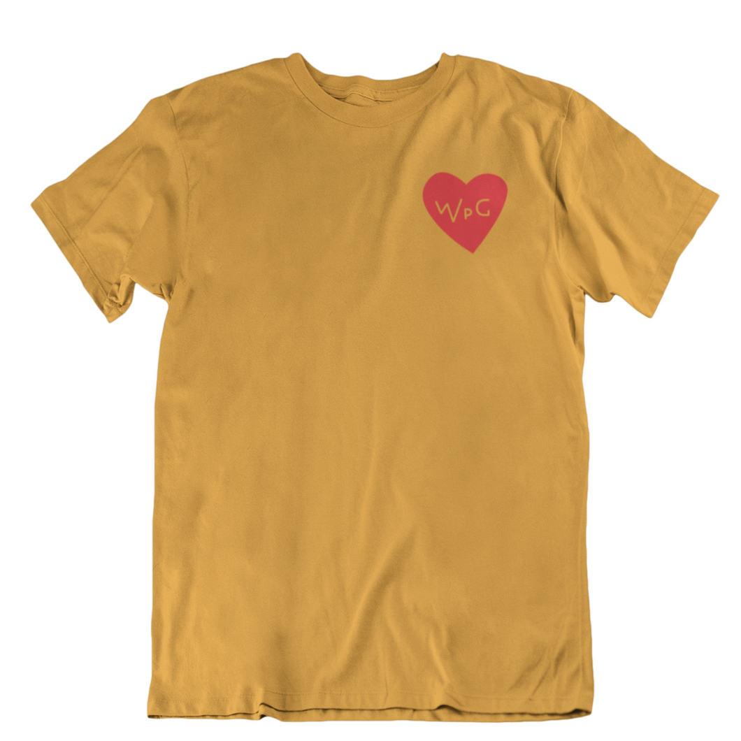WPG Heart Tee | Red on Mustard