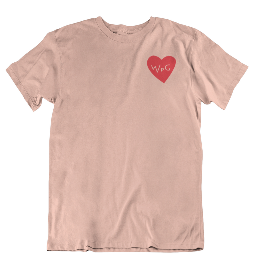 WPG Heart Tee | Red on Peach