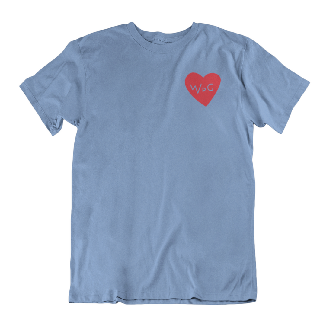 WPG Heart Tee | Red on Powder Blue