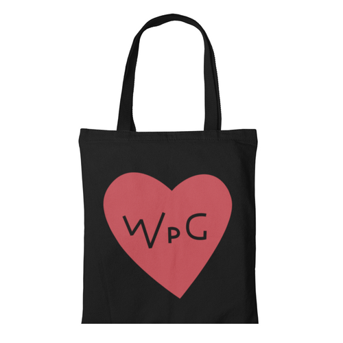 WPG Heart Tote | Red on Black