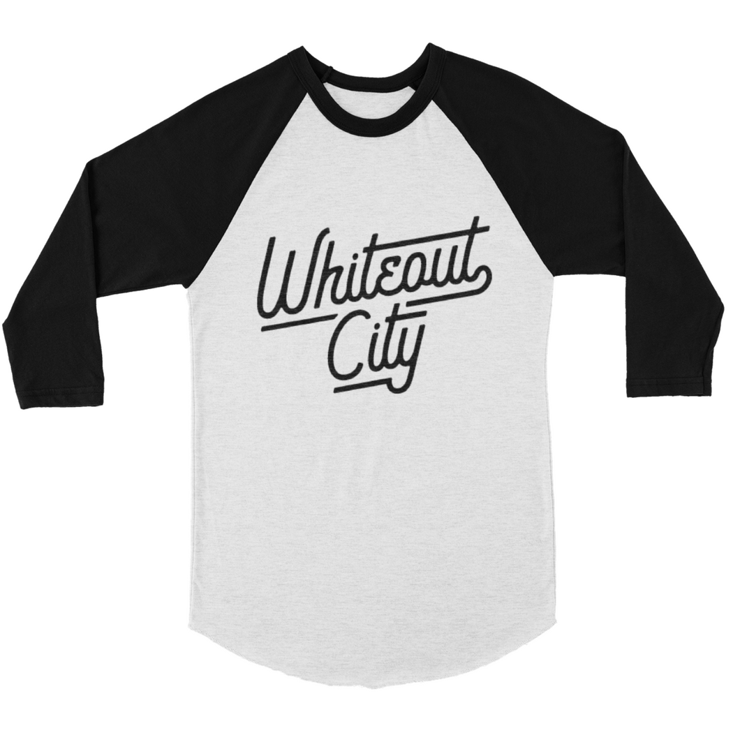 Whiteout City Script Baseball Tee