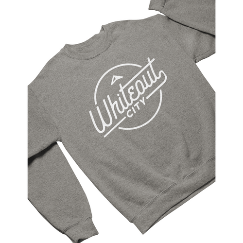 Whiteout City Classic Crewneck | White on Athletic Grey