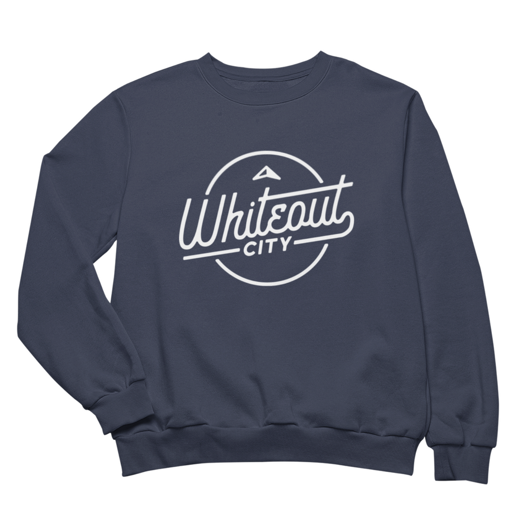 Whiteout City Classic Crewneck | White on Navy