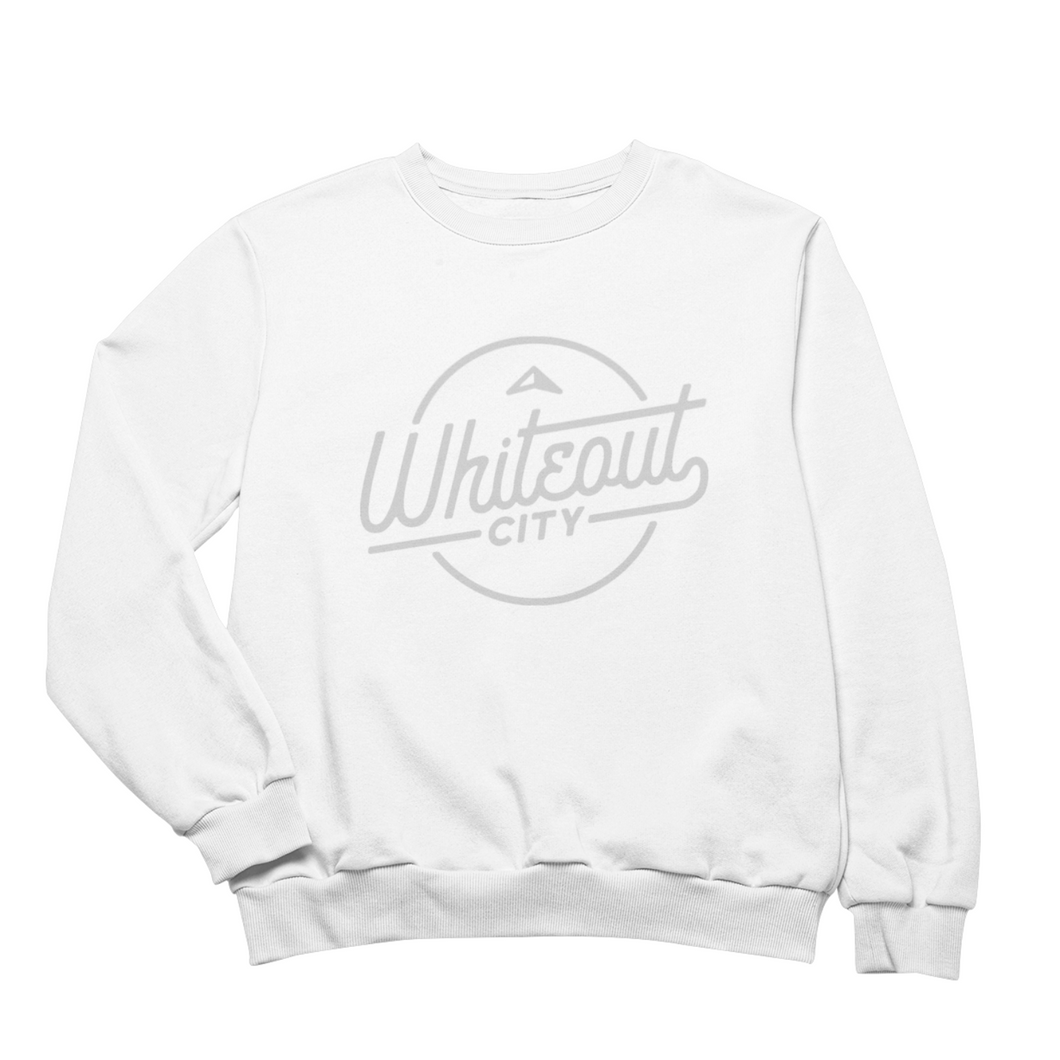 Whiteout City Classic Crewneck | Silver on White