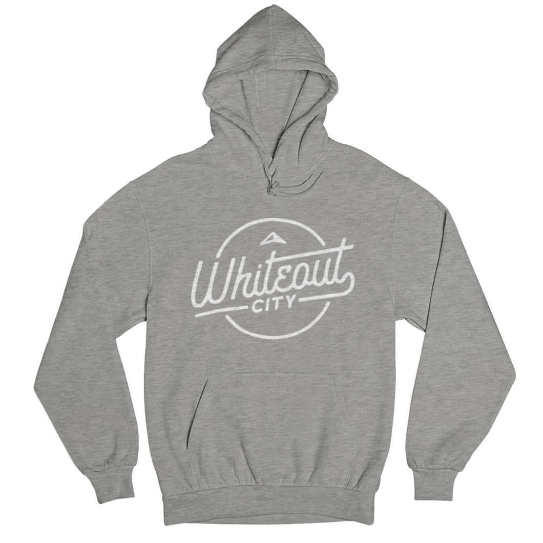 Whiteout City Classic Hoodie | White on Athletic Grey