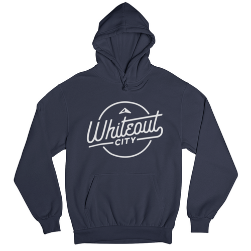 Whiteout City Classic Hoodie | White on Navy