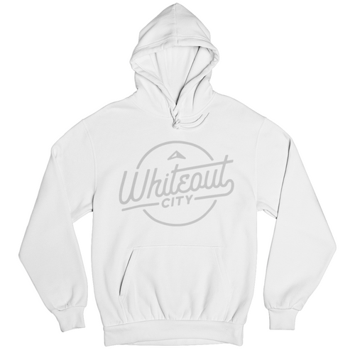 Whiteout City Classic Hoodie | Silver on White