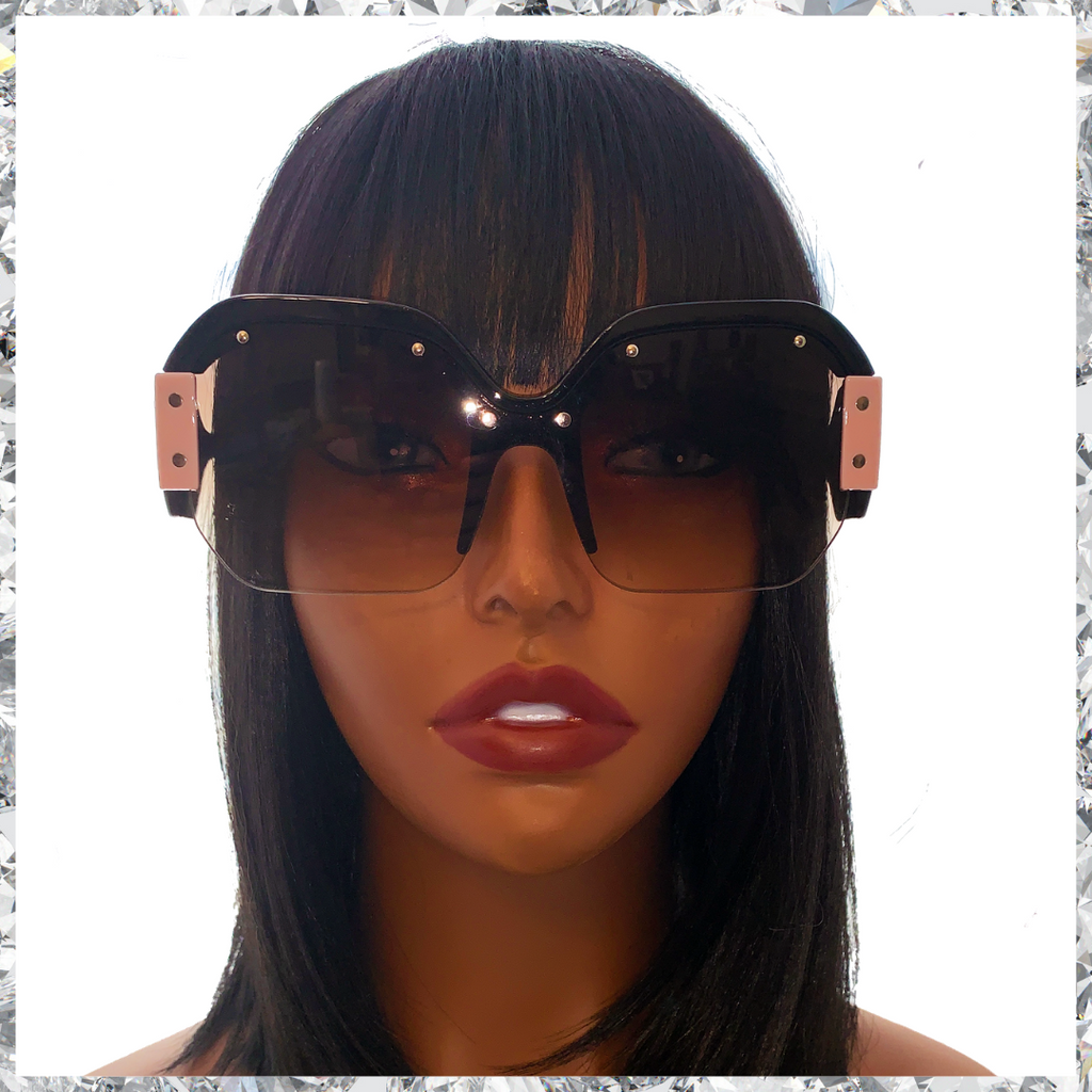 R2 D2 - Black & Pink Frames Partially Rimless With Black Gradient Lenses Sunglasses - Shady Mama