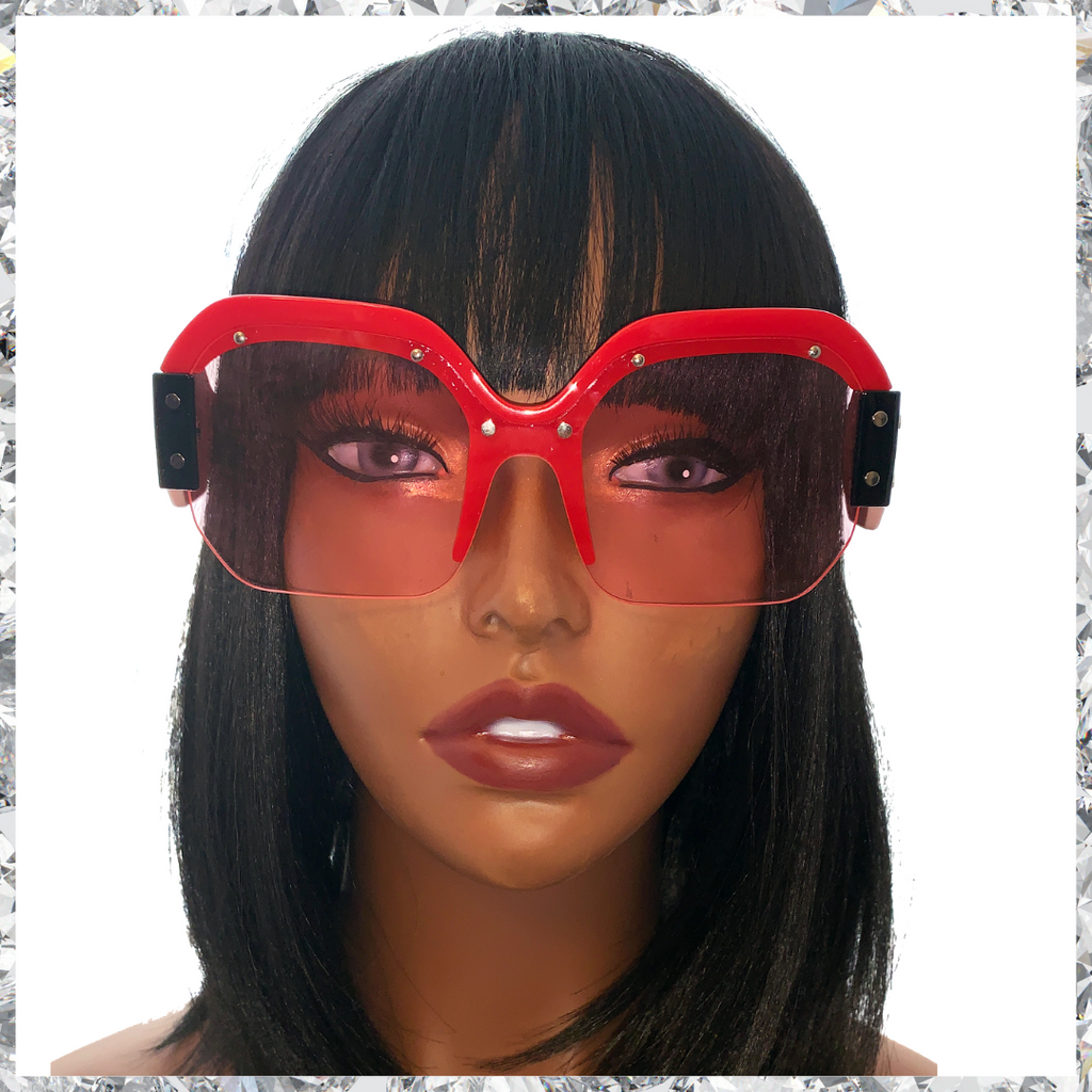 R2 D2 - Red Pink and Black Frames With Metal Studs and Red Partially Rimless Lenses Sunglasses - Shady Mama