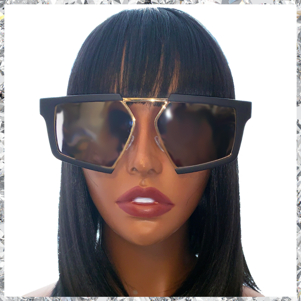 Shady Bae - Matte Black & Gold Frames with Mirrored Lenses Sunglasses - Shady Mama