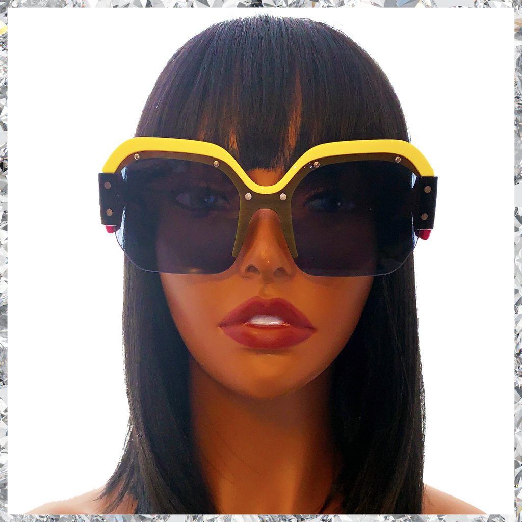 R2 D2 - Yellow, Pink and Black Frames With Metal Studs and Black Partially Rimless Lenses Sunglasses - Shady Mama