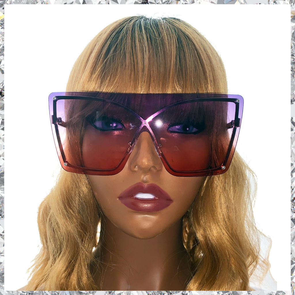 Muthaf***ka's - Rimless Wireframe Purple to Red Gradient Sunglasses - Shady Mama