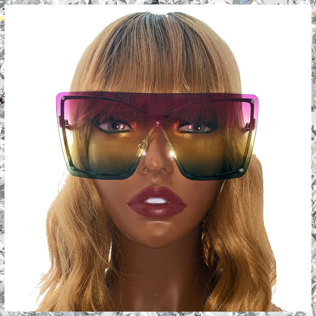 Muthaf***ka's - Rimless Wireframe Purple to Yellow to Green Gradient Sunglasses - Shady Mama