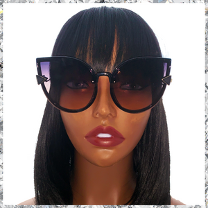 Meow - Cat Eye Sunglasses Black Frames with Gradient Greyish Purple to Pink Lenses - Shady Mama