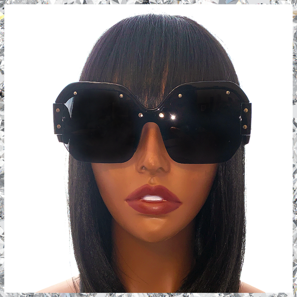 R2 D2 - Black Frames Partially Rimless With Black Lenses Sunglasses - Shady Mama