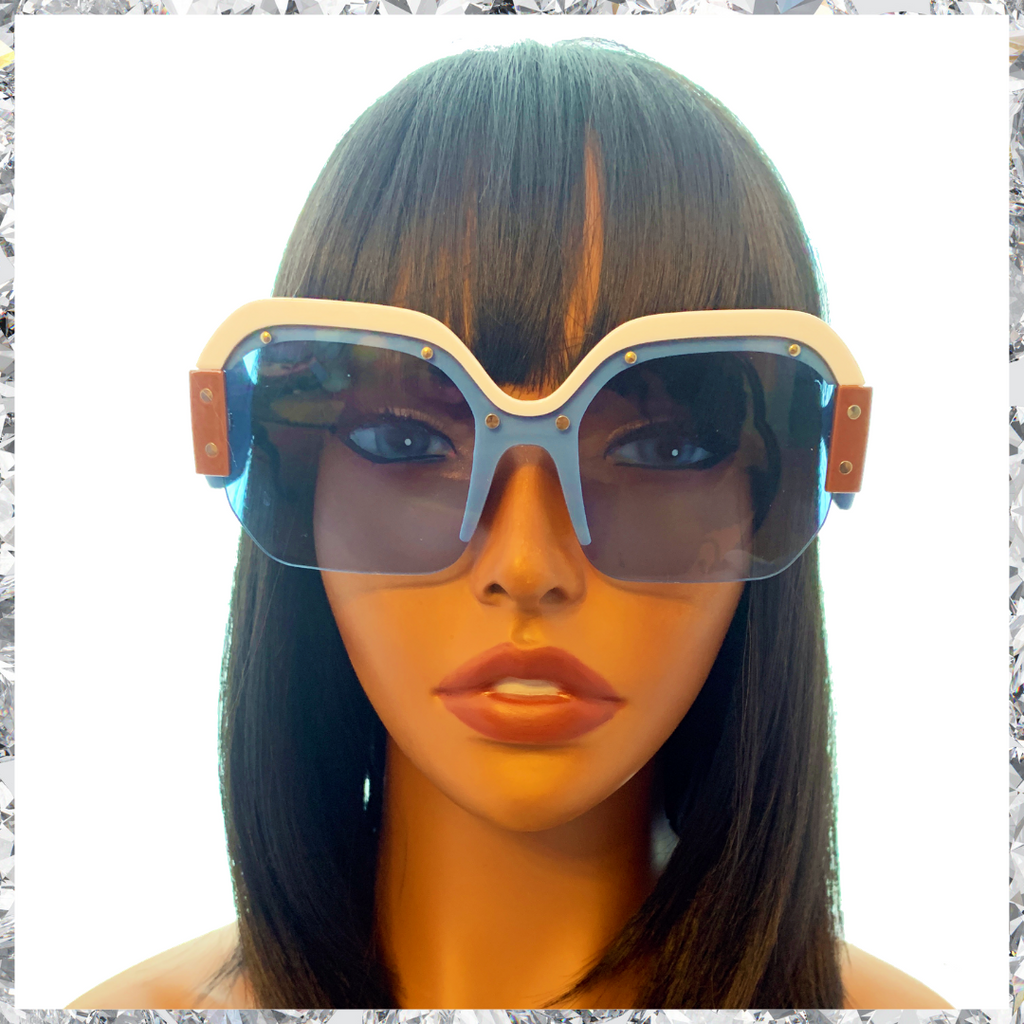 R2 D2 - Blue White and Tan Frames With Metal Studs and Blue Partially Rimless Lenses Sunglasses - Shady Mama