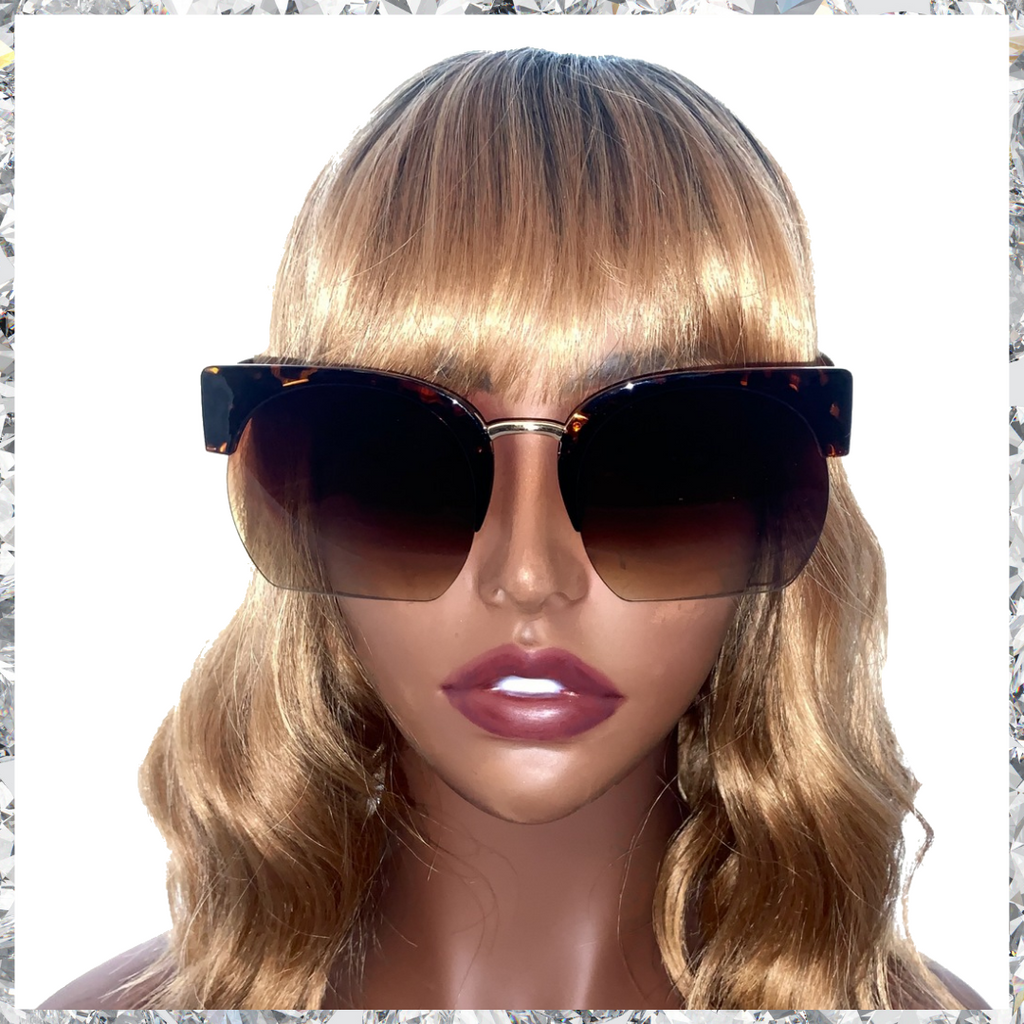 Purr - Leopard Print Frames Partially Rimless Gradient Frames from Black to Brown - Shady Mama