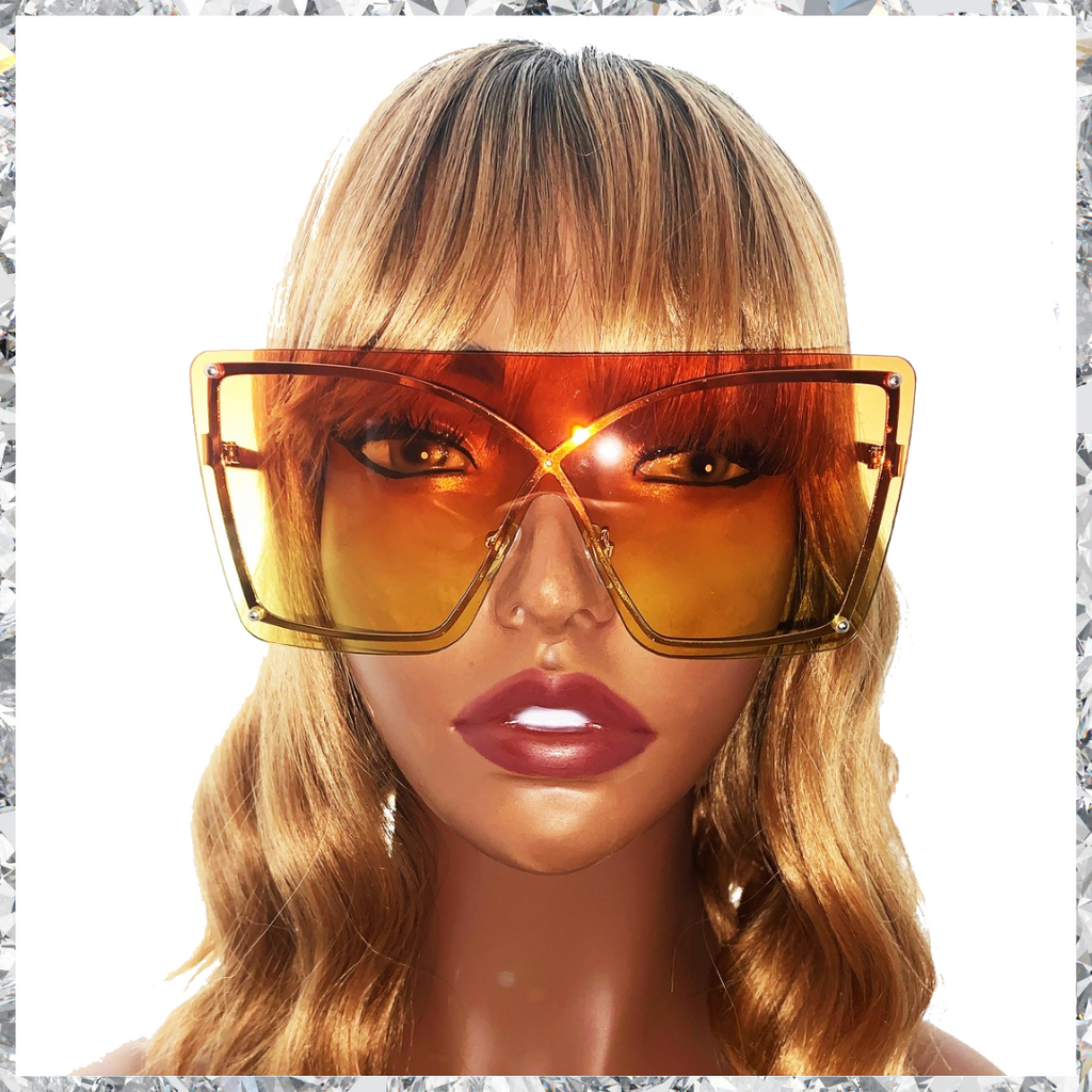 Muthaf***ka's - Rimless Wireframe Orange to Yellow Gradient Sunglasses - Shady Mama