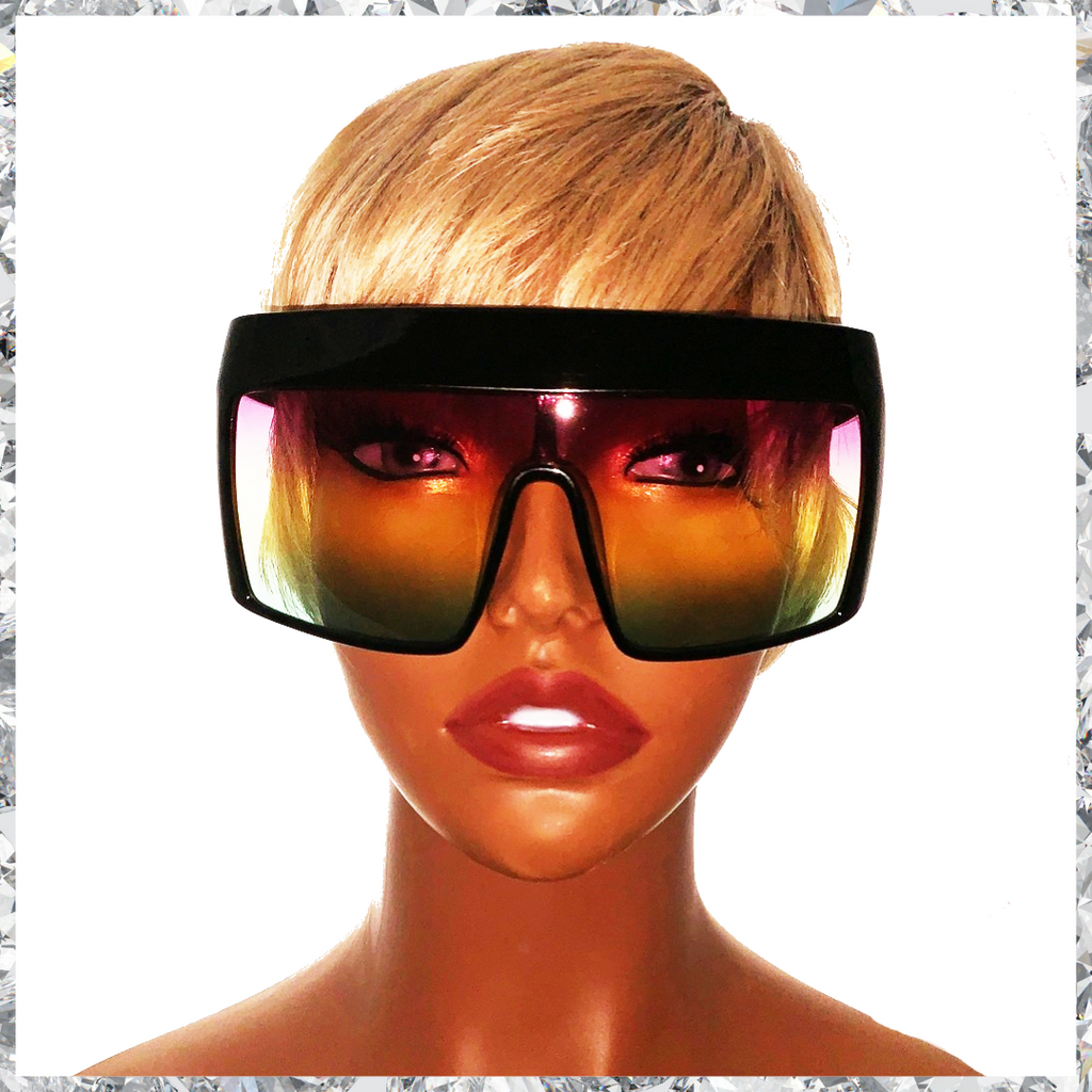 Hater Blockers - Black Frame With Purple To Yellow To Green Gradient Lenses Sunglasses - Shady Mama