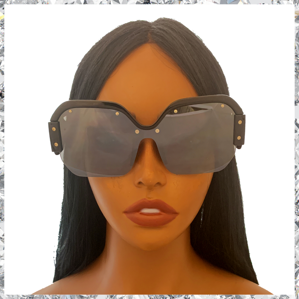 R2 D2 - Black Frames Partially Rimless With Mirrored Grey Lenses Sunglasses - Shady Mama