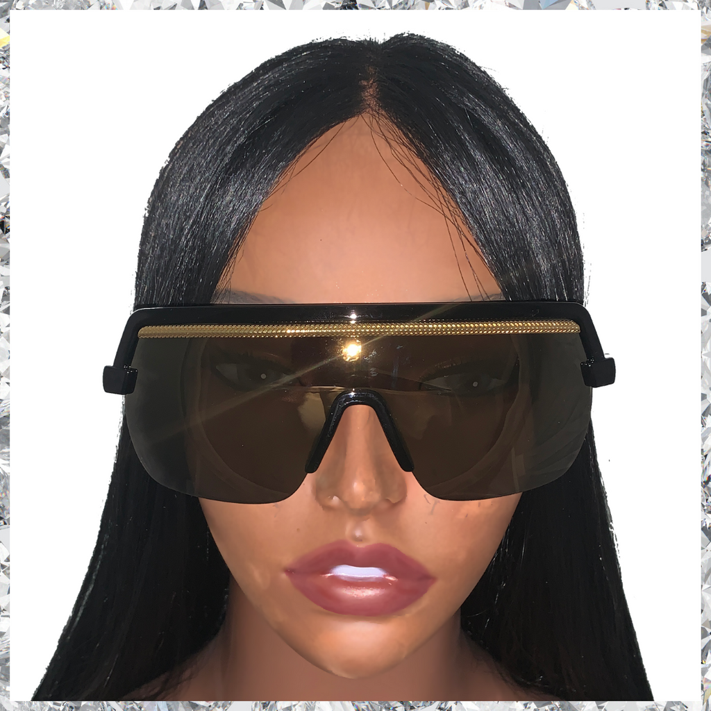 Jordy - Glossy Black Frames with Gold Trim and Dark Lenses Sunglasses - Shady Mama