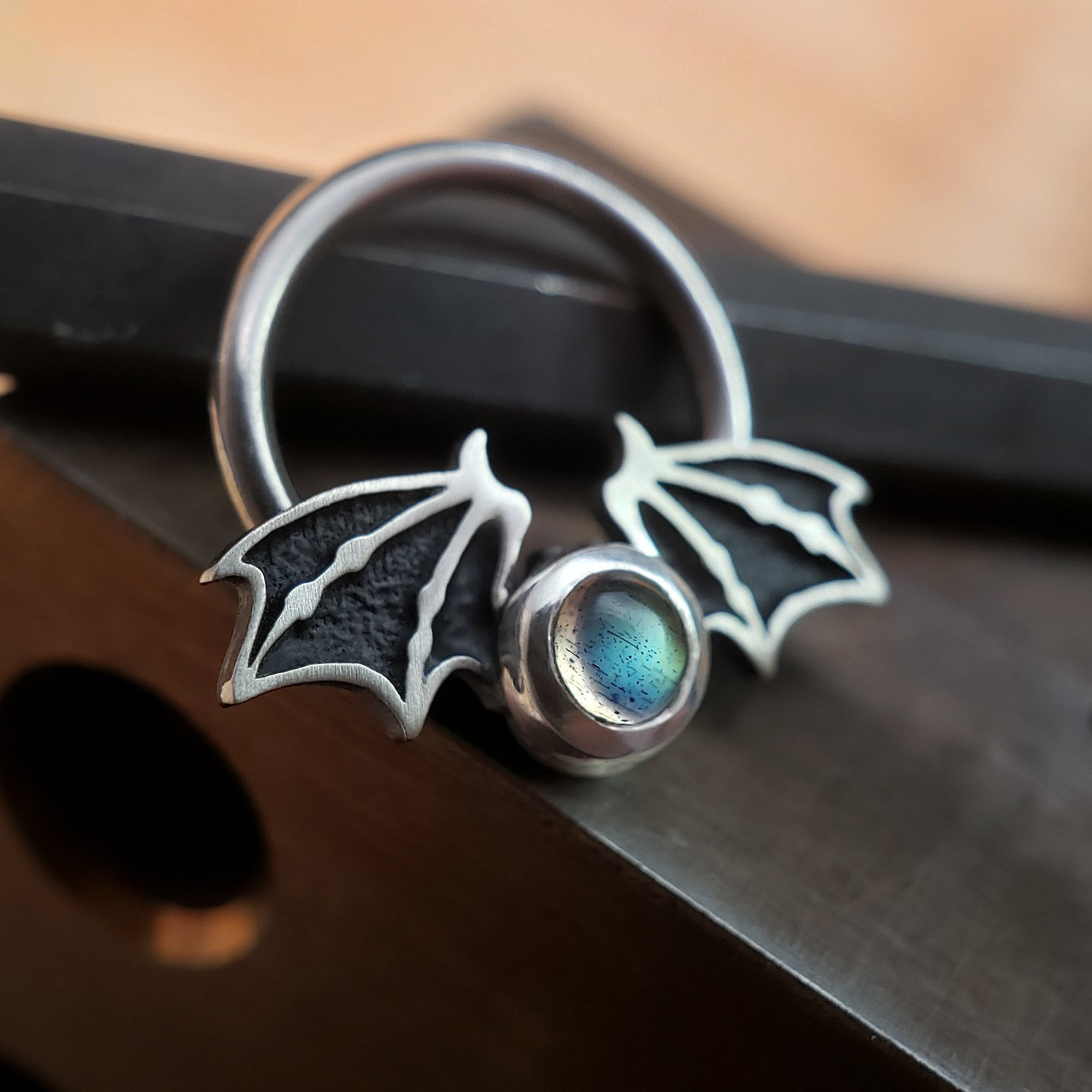 16G Labradorite Bat Captive Bead Ring - Metal Lotus
