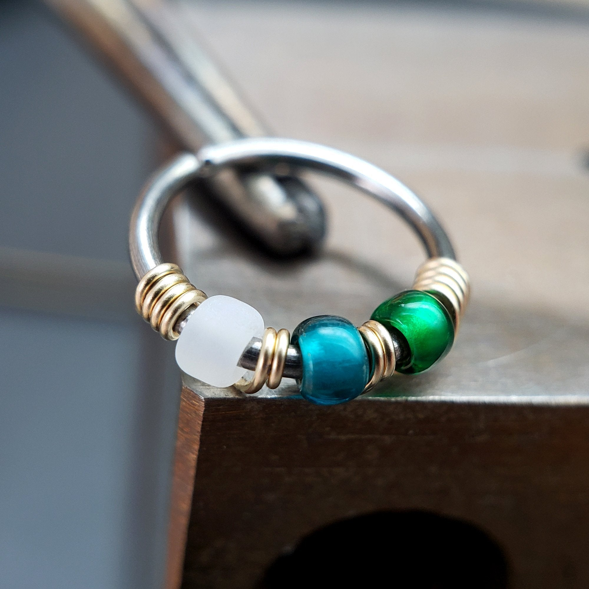 Alpine - Emerald & Teal Nose Ring Hoop - Metal Lotus