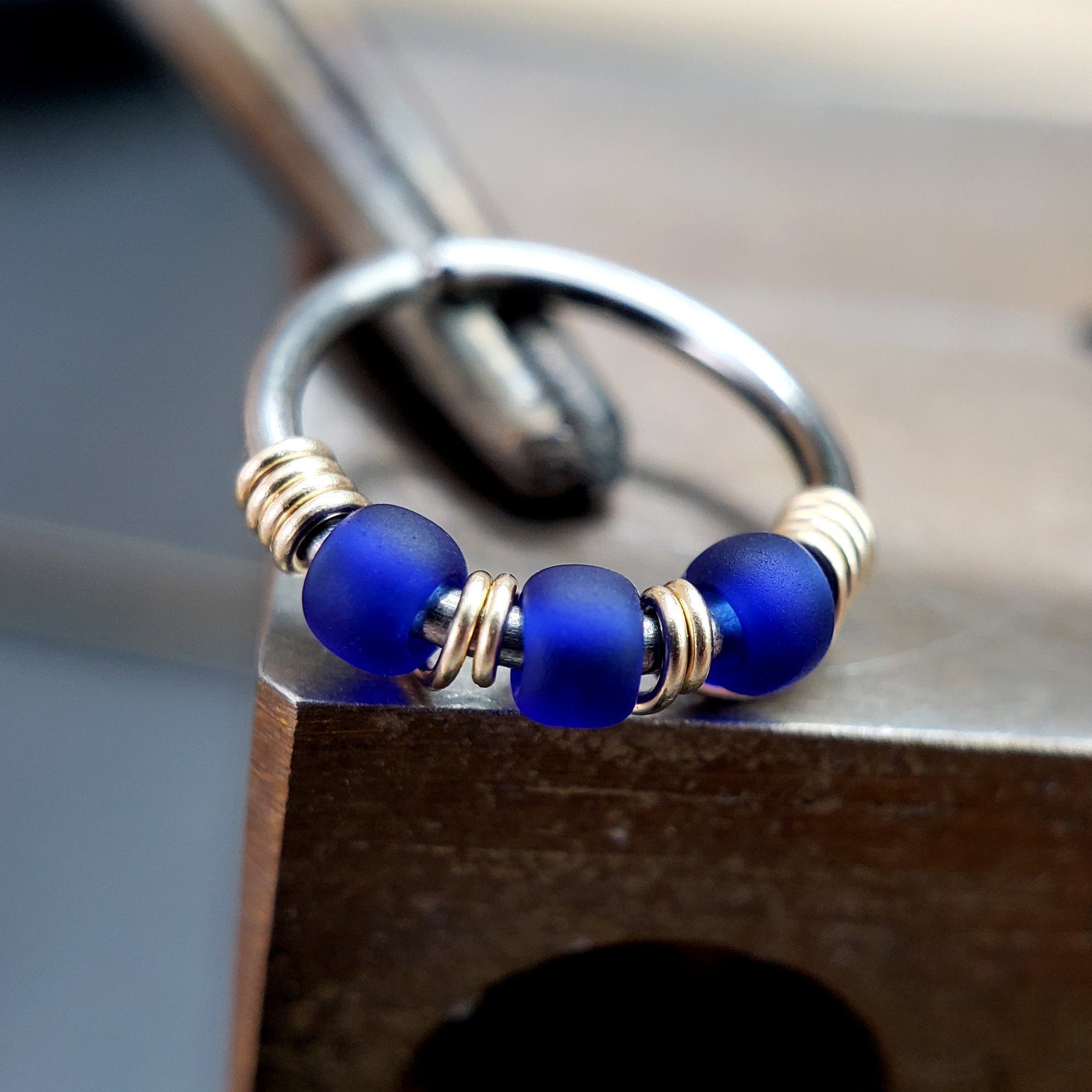 Celestial - Cobalt Blue Nose Ring Hoop - Metal Lotus