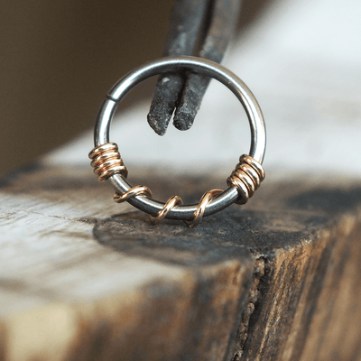 Metal Lotus Nose Hoop Copper Twist Hoop