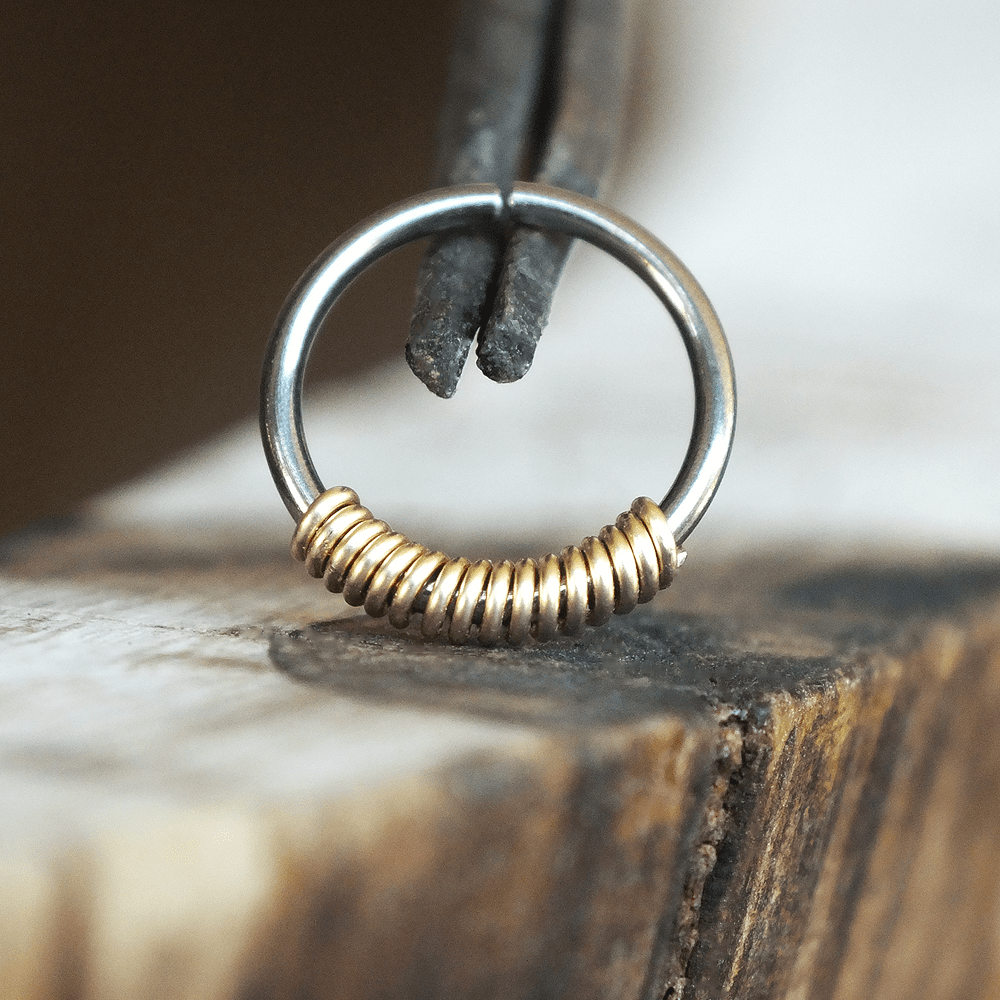 Metal Lotus Nose Hoop Gold Fill Coil-Closure Hoop