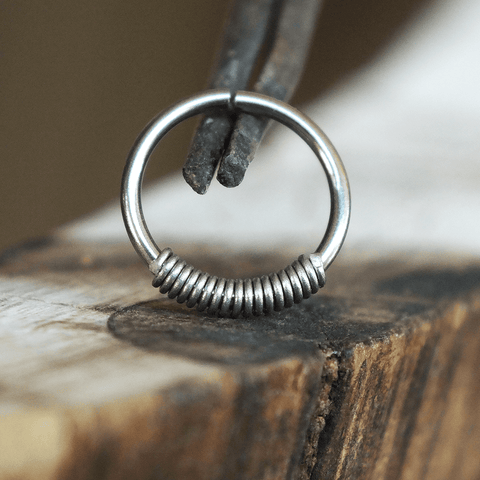 Metal Lotus Nose Hoop Niobium Coil-Closure Hoop