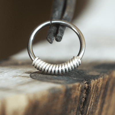Metal Lotus Nose Hoop Silver Coil-Closure Hoop