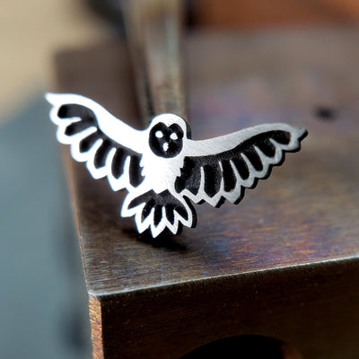 Metal Lotus Nose Stud Silver Flying Owl Nose Stud
