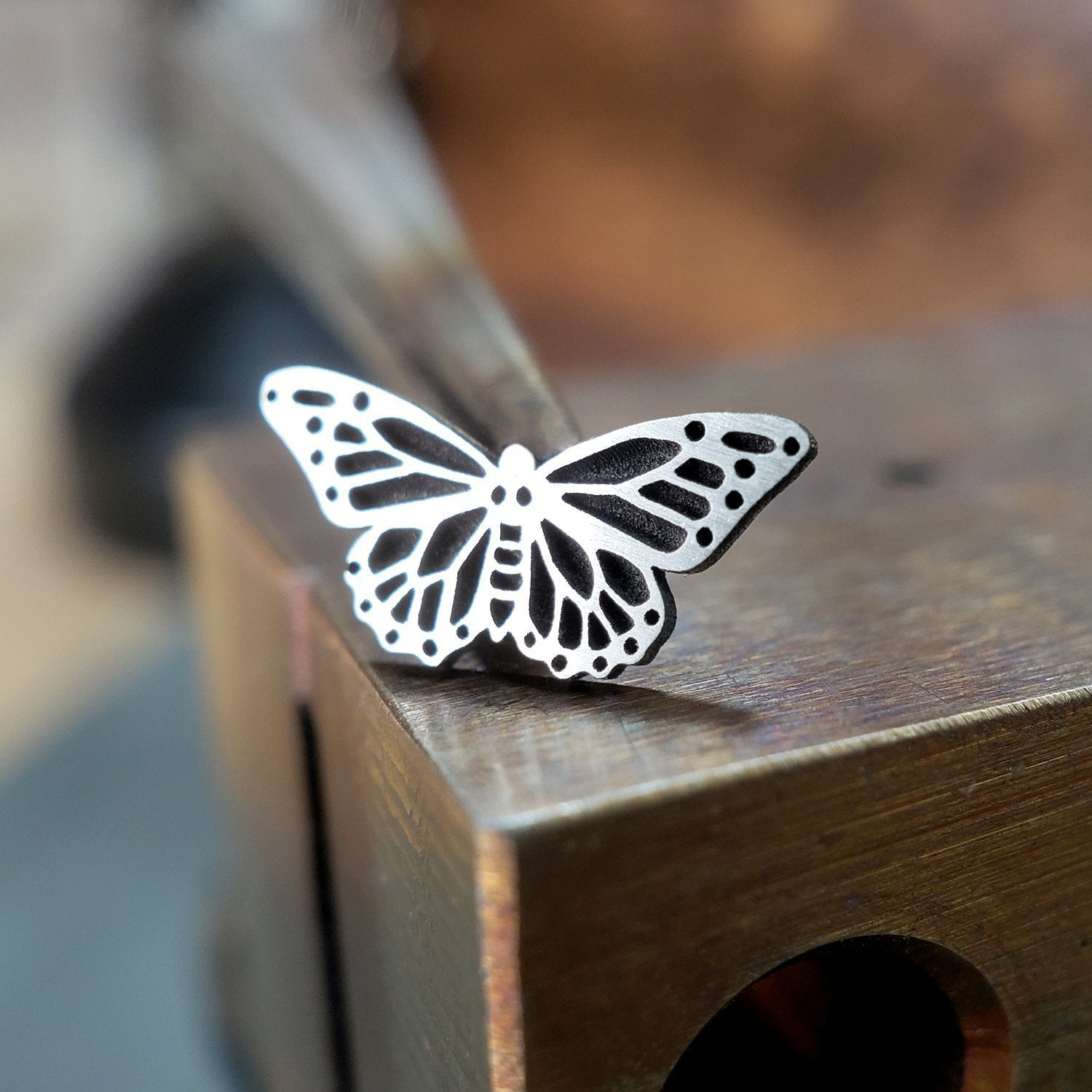 Metal Lotus Nose Stud Silver Monarch Butterfly Nose Stud