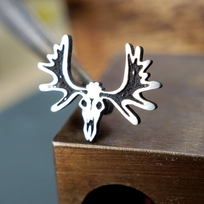 Metal Lotus Nose Stud Silver Moose Skull Nose Stud