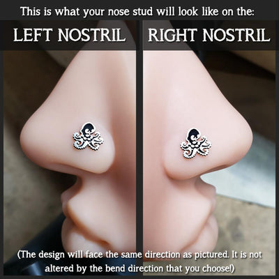 Metal Lotus Nose Stud Sterling Silver Octopus Nose Stud - Design #2