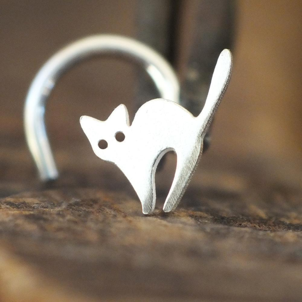 Metal Lotus Nose Stud Sterling Silver Spooked Cat Nose Stud