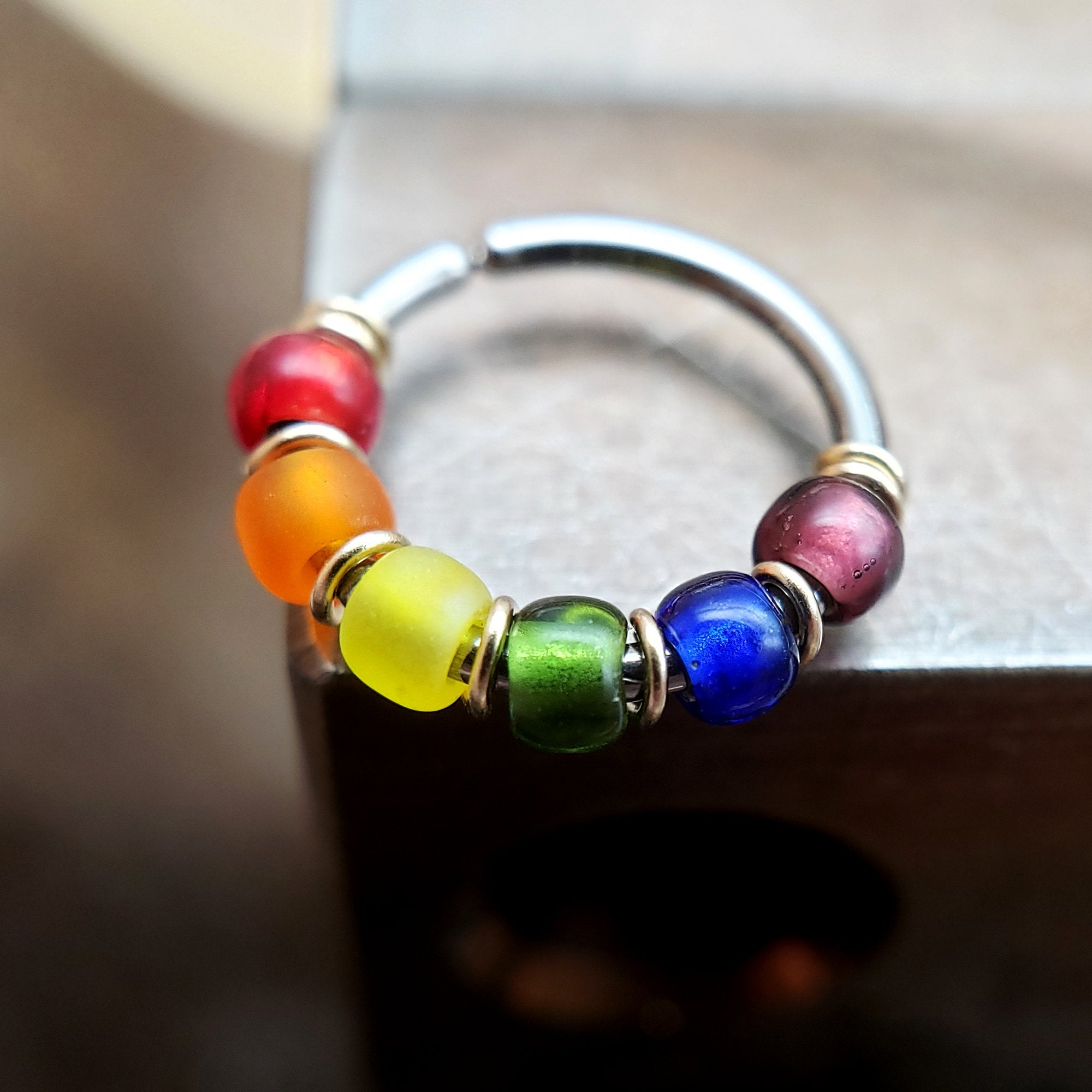 Rainbow Beaded Nose Ring Hoop - Metal Lotus