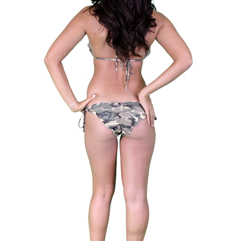 Women's Juniors Ruffled Camo Bikini Set Swimwear Made in the USA