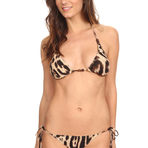 Women's 2 Piece Bikini Leopard Printed Beach Swimwear Made in USA